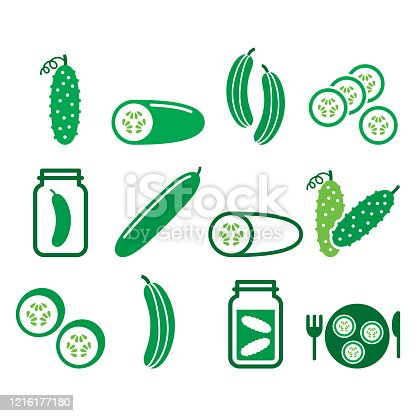Vegetable icons - cucumber design isolated on white