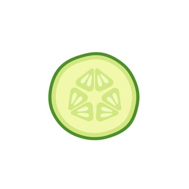 stockillustraties, clipart, cartoons en iconen met komkommer slice op witte achtergrond - komkommer