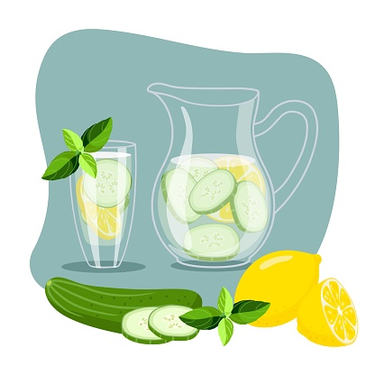 Cucumber water with lemon. Cool fresh lemonade in glass pitcher and glass. Summer drink and fruit and mint. Cold detox water with for cafe or restaurant menu, summer party, beverage template