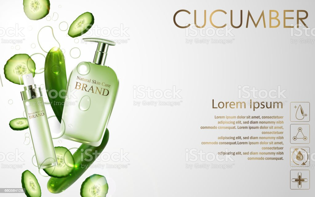 Cucumber whitening hydrating cream contained in green spray bottle on white background vector art illustration