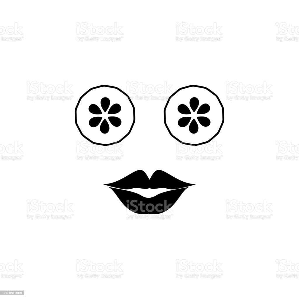 Gurken in die Augen und Lippen-Symbol – Vektorgrafik