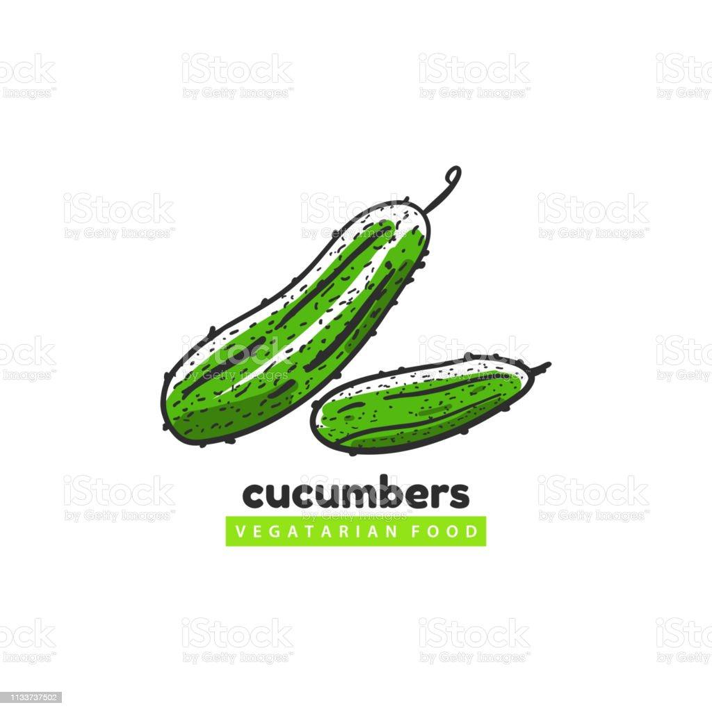 Cucumbers vegatarian food logo template vector art illustration