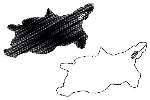 Cuenca City (Republic of Ecuador, Azuay Province) map vector illustration, scribble sketch City of Santa Ana de los Cuatro Ríos de Cuenca map