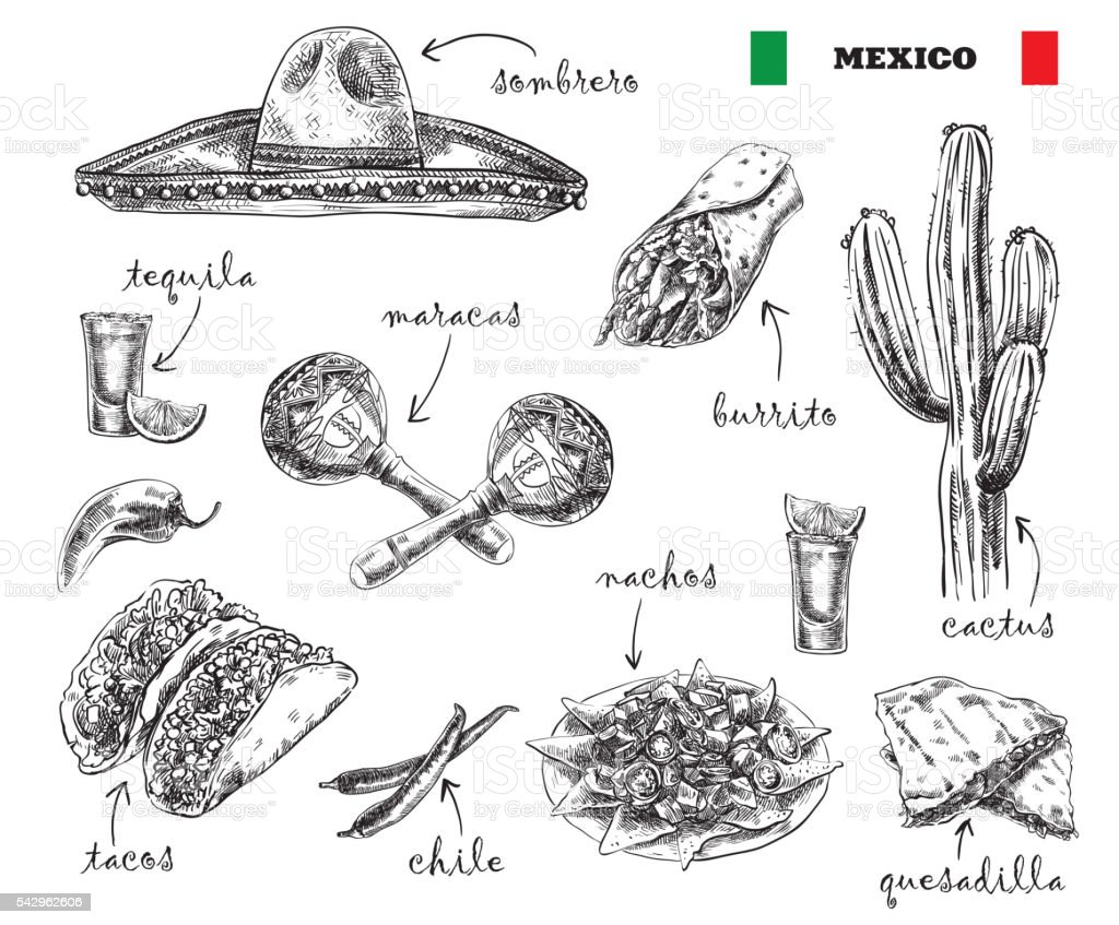 cuisine and souvenirs of Mexico vector art illustration