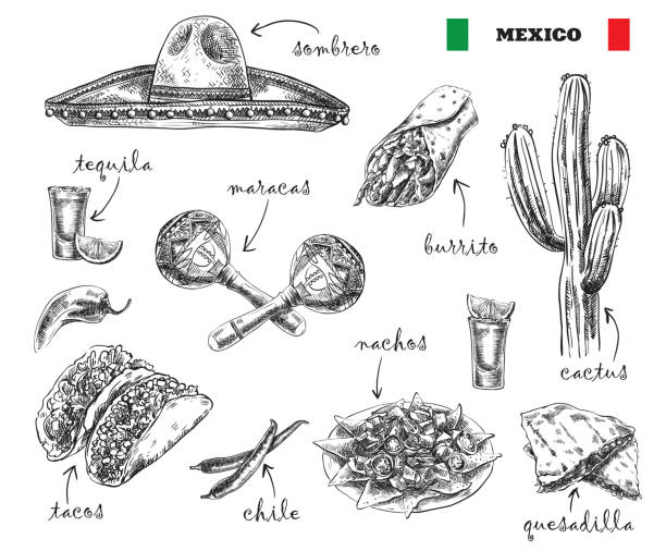 cuisine and souvenirs of mexico - mexican food stock illustrations, clip art, cartoons, & icons