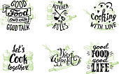 Cuisine quotes and sayings hand lettering typography, vector illustration. Vintage labels, emblems with hand drawn kitchen utensils and inspirational phrases about food cooking on white background.