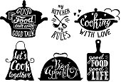Cooking set with kitchen utensils and cuisine short phrases and quotes. Vector vintage hand drawn illustration.