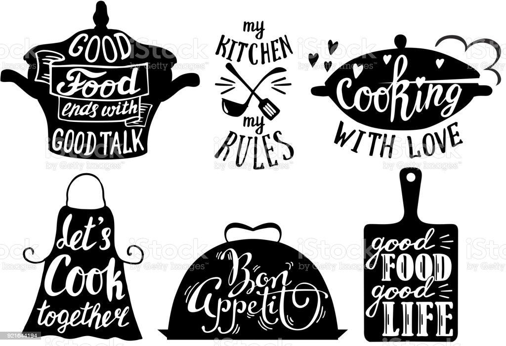 Les courtes phrases cuisine et citations, illustration de vecteur dessinés à la main - Illustration vectorielle