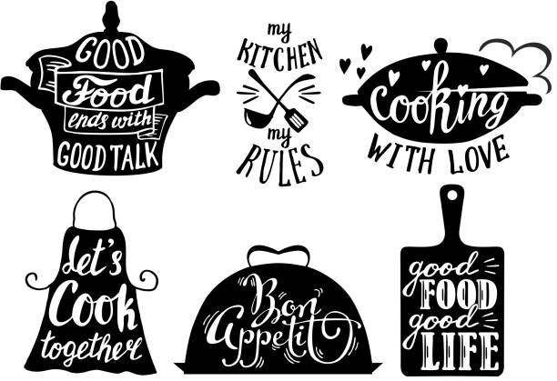 Cuisine short phrases and quotes, vector hand drawn illustration Cooking set with kitchen utensils and cuisine short phrases and quotes. Vector vintage hand drawn illustration. cutting board stock illustrations