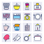 Cuisines recipes and tips outline style concept with symbols. Flat line vector icons set for infographics, mobile and web designs.