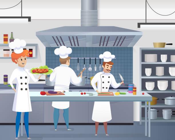 kulinarisches konzept abbildung gastronomie vektor - gewerbliche küche stock-grafiken, -clipart, -cartoons und -symbole