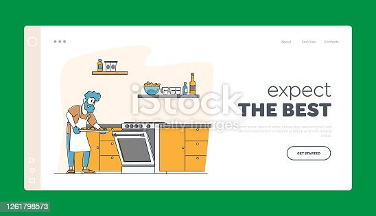 Culinary Experience, Housekeeping Landing Page Template. Duties and Home Chores. Man Cooking Bake Household Activities