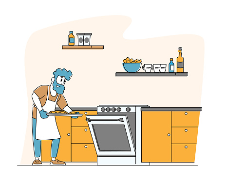 Culinary Experience, Housekeeping Management, Duties and Chores. Man Household Activities. Male Character Cooking Bakes