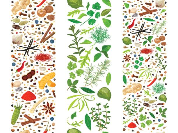 Culinary herbs and spices organised in three ribbons Popular culinary herbs and spices set organized in three ribbons. Cooking seasonings poster. Design for decoration, cosmetics, store, health care products, flyer, banner, wrapping paper, textile dill stock illustrations
