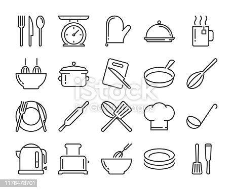 20 Culinary icons. Kitchen and Cooking line icon set. Vector illustration