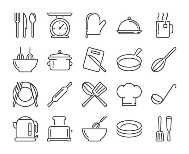 illustrazioni stock, clip art, cartoni animati e icone di tendenza di 20 culinary icons. kitchen and cooking line icon set. vector illustration. - cucina domestica