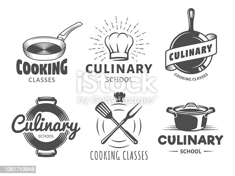 Culinary school Icons. Vector badges for cooking classes, workshops and courses. Set of vintage monochrome labels with chefs hat, pans and kitchenware