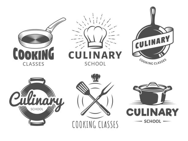 Culinary school Icons. Culinary school Icons. Vector badges for cooking classes, workshops and courses. Set of vintage monochrome labels with chefs hat, pans and kitchenware chef's hat stock illustrations