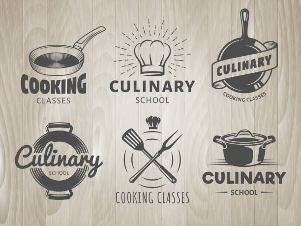 bildbanksillustrationer, clip art samt tecknat material och ikoner med matlagningsskolan logotyper - äta och dricka