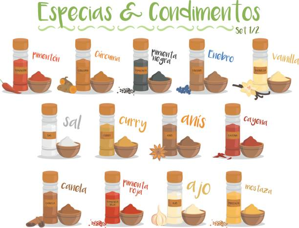 13 culinary species and condiments. Set 1/2. Spanish names. Set of 13 different culinary species and condiments in cartoon style. Set 1 of 2. Spanish names. salt seasoning stock illustrations