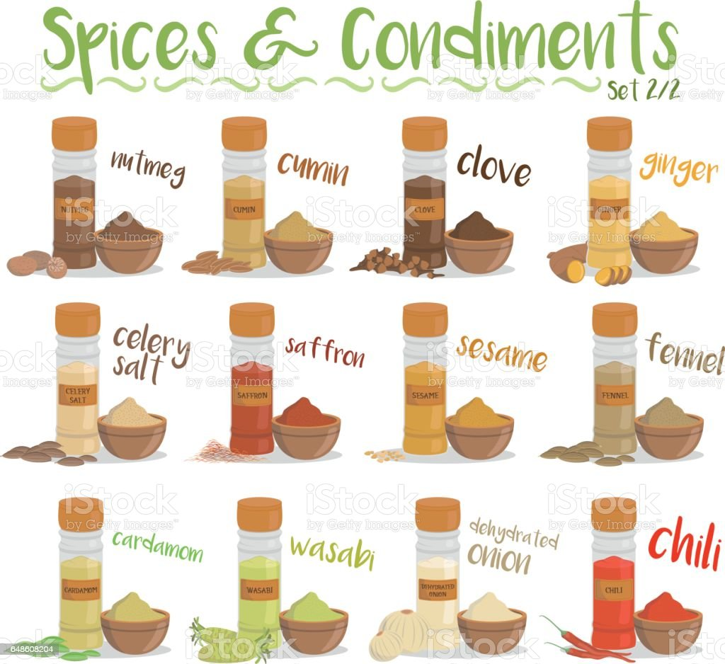 12 culinary species and condiments. Set 2 of 2 vector art illustration