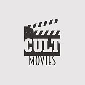 Cult movies vector logo, symbol or emblem design concept with clapperboard