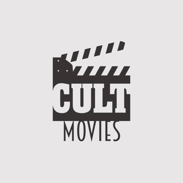 kult-filme vektor-logo, symbol oder emblem design-konzept mit klappe - kultfilme stock-grafiken, -clipart, -cartoons und -symbole