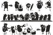 """Characters singing, dancing, playing and painting. Also a paraphrase of Da Vincis """"Last Supper""""."""