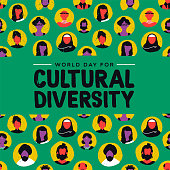 Cultural Diversity Day greeting card illustration. Diverse social group of people includes muslim, african, asian and american cultures.