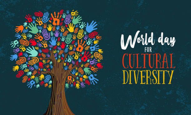 illustrazioni stock, clip art, cartoni animati e icone di tendenza di cultural diversity day tree hand concept illustration - diversità
