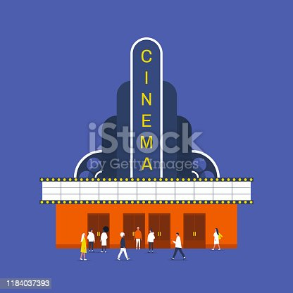 Cultural life and entertainment, Old fashion american cinema building, people walking and standing in front of the entrance