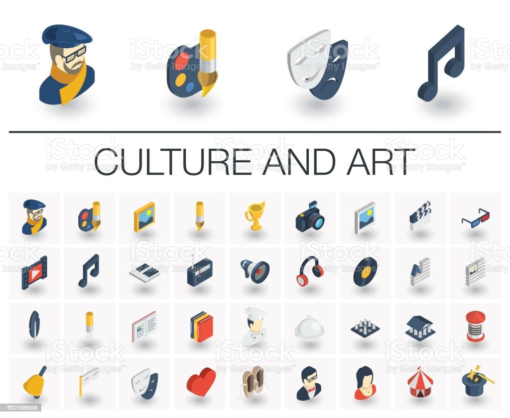 Culture and art isometric icons. 3d vector vector art illustration