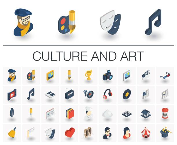 culture and art isometric icons. 3d vector - music and entertainment icons stock illustrations