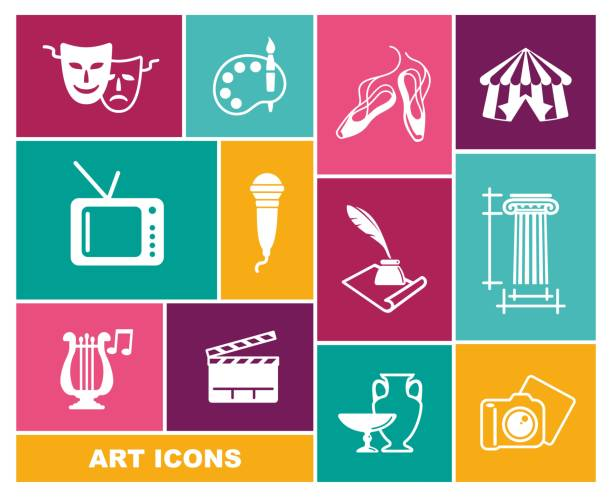 illustrations, cliparts, dessins animés et icônes de culture et art vecteur icônes dans le style plat - camera sculpture