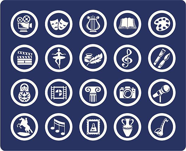 illustrations, cliparts, dessins animés et icônes de vecteur des icônes de l'art et de la culture - camera sculpture
