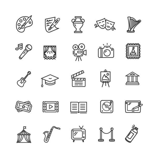 illustrations, cliparts, dessins animés et icônes de culture et création fine art icons set. vector - art