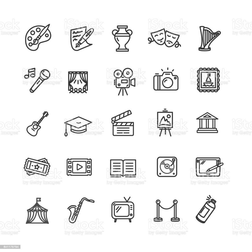 Culture and Creative Fine Art Icons Set. Vector vector art illustration