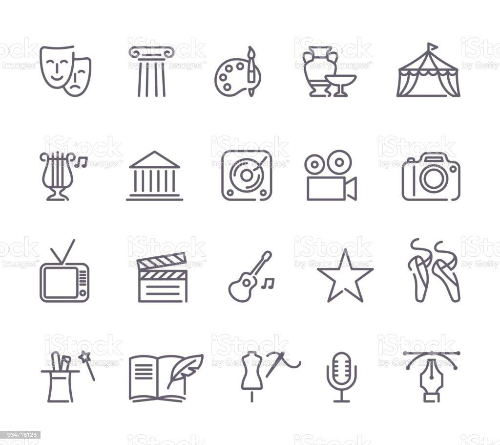 Culture and Creative Fine Art Line Icons Set vector art illustration