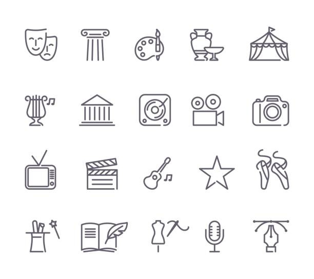 Culture and Creative Fine Art Line Icons Set vector art illustration