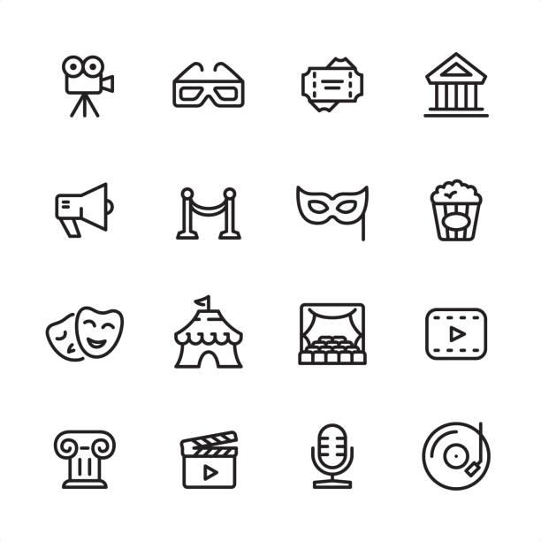 Culture & Entertainment - outline icon set vector art illustration