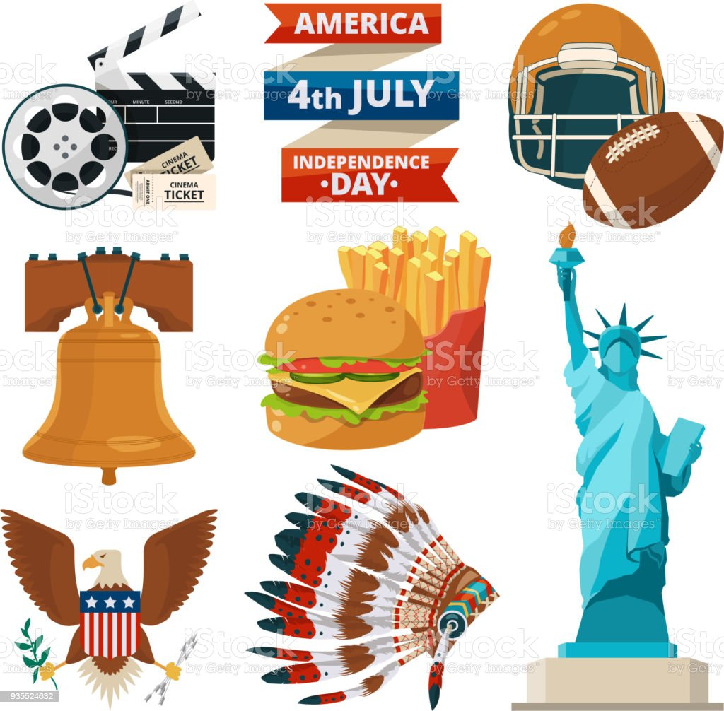 Culture objects of americans usa. Vector illustrations in cartoon style royalty-free culture objects of americans usa vector illustrations in cartoon style stock illustration - download image now