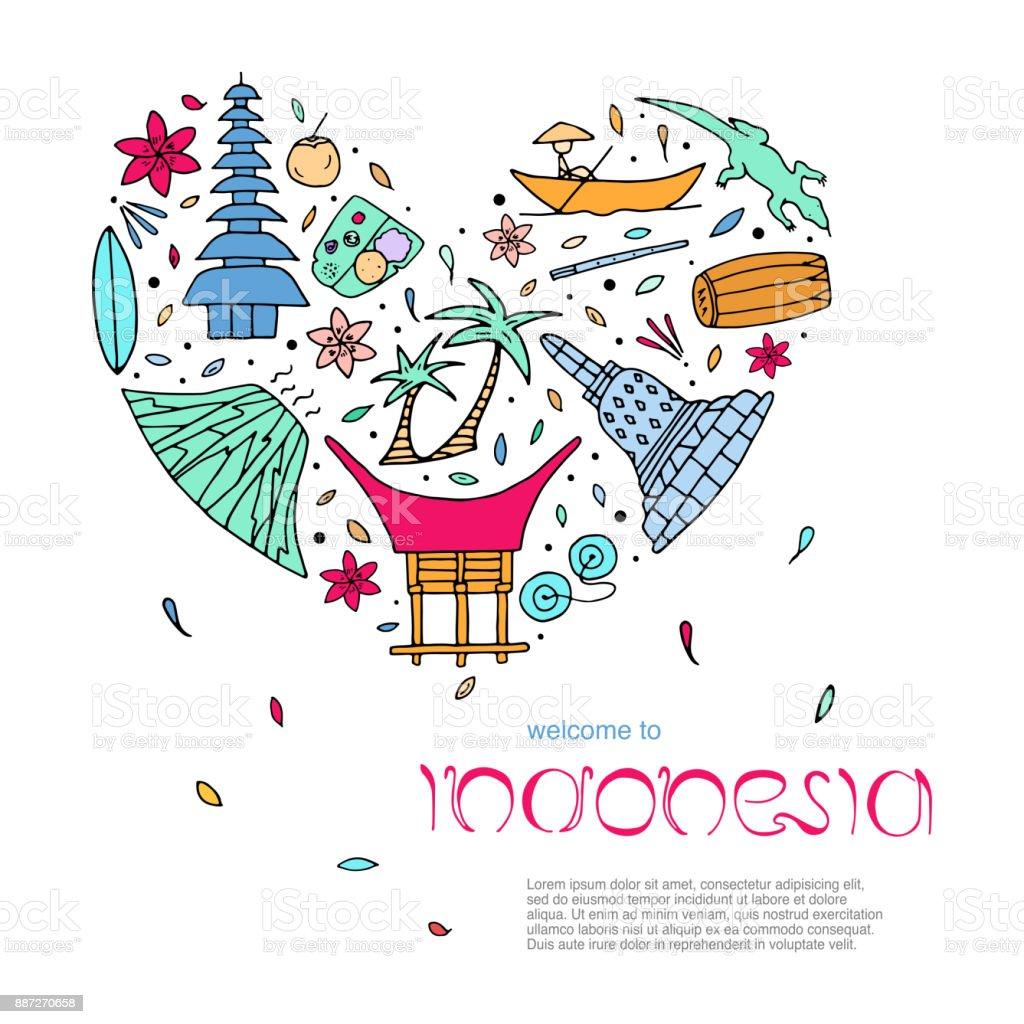 Culture of Indonesia design concept. Main attractions. vector art illustration