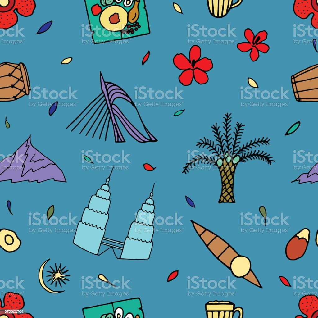 Culture of Malaysia. Hand drawn symbols of Malaysia. Vector illustartion. royalty-free culture of malaysia hand drawn symbols of malaysia vector illustartion stock vector art & more images of abstract