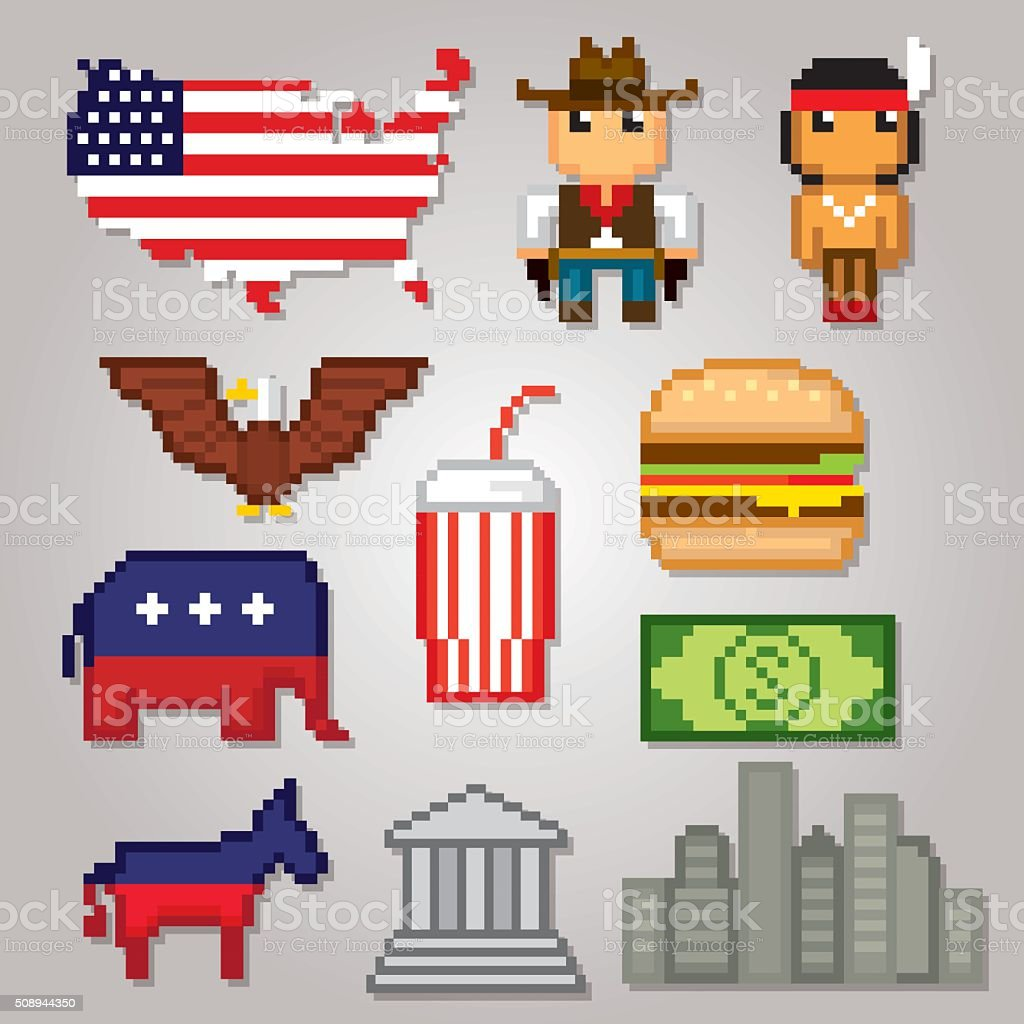 Usa Culture Symbols Icons Set Pixel Art Old School Computer Stock