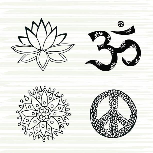 kulturelle symbole vektor-set. lotus, mandala, mantra om - mantra stock-grafiken, -clipart, -cartoons und -symbole