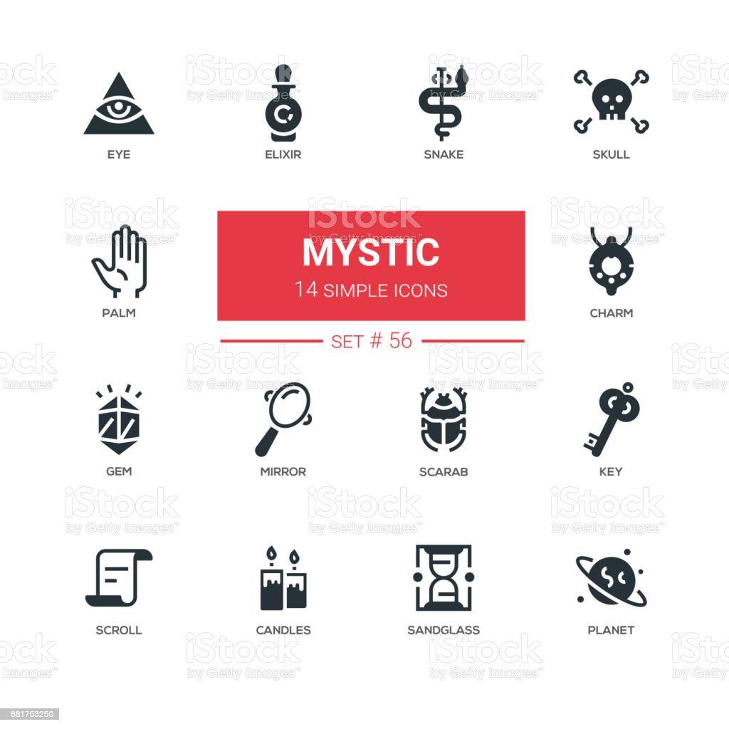 Culture theme, mystic - line design icons set vector art illustration