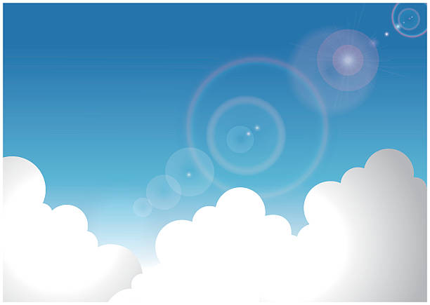 illustrazioni stock, clip art, cartoni animati e icone di tendenza di cumulonembo e cielo estivo - flare