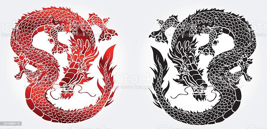 Многоопытных азиатских черный и красный дракон на белом векторная иллюстрация