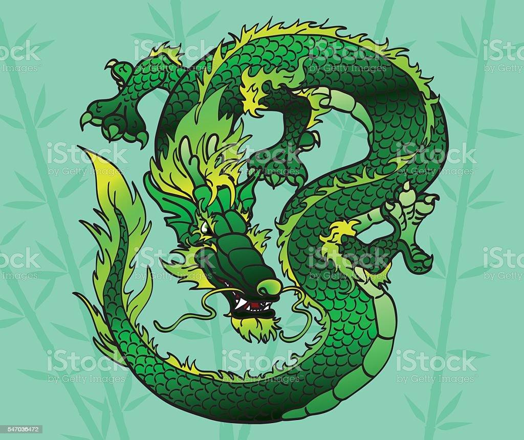 Cunning green Asian dragon on bamboo векторная иллюстрация