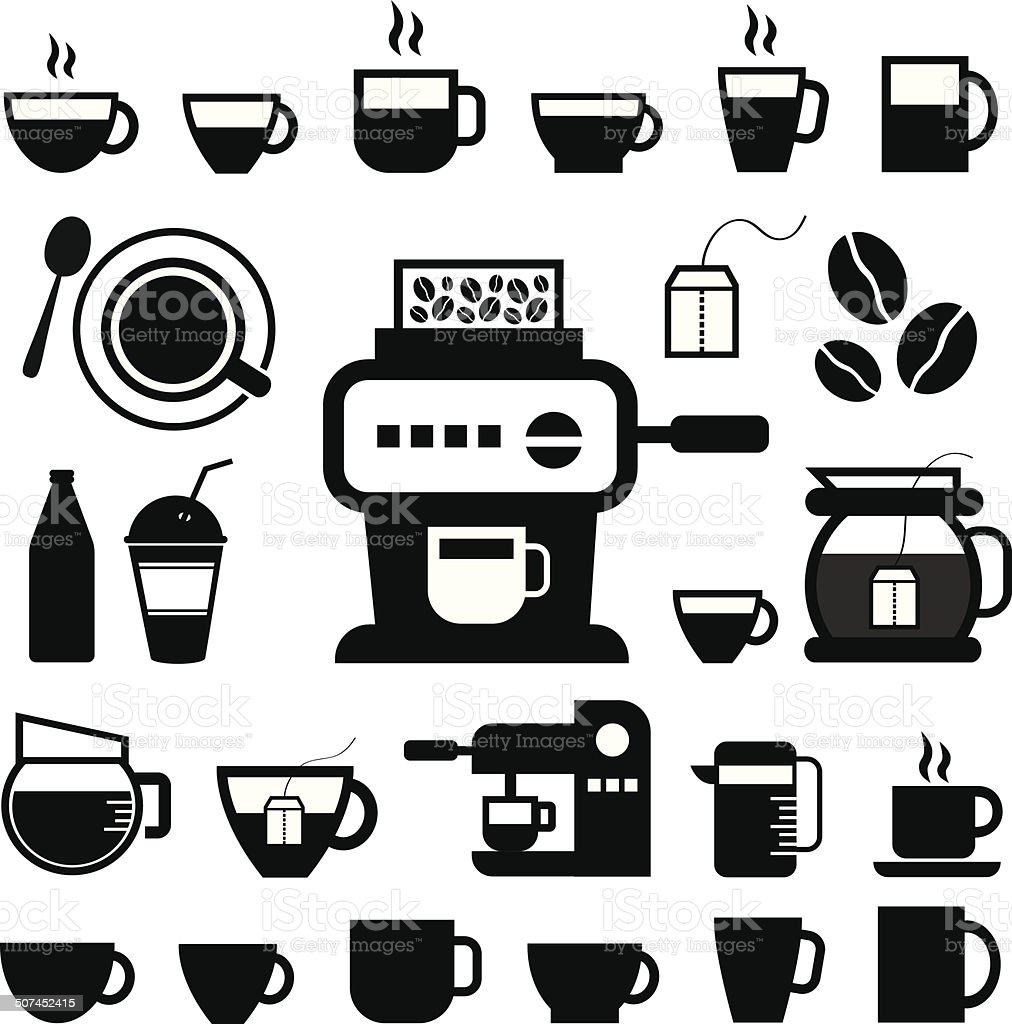 cup and coffee  icon set vector art illustration